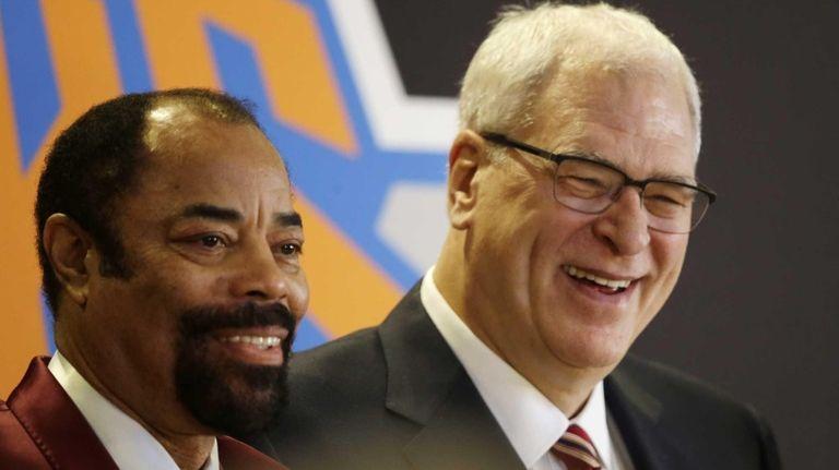 Knicks player Walt Frazier joins Phil Jackson at