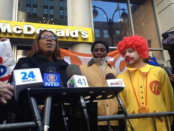 Public Advocate Letitia James speaks at a protest