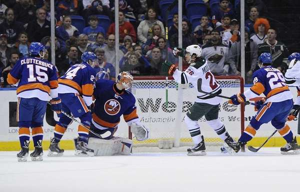 Minnesota Wild left wing Matt Moulson reacts after