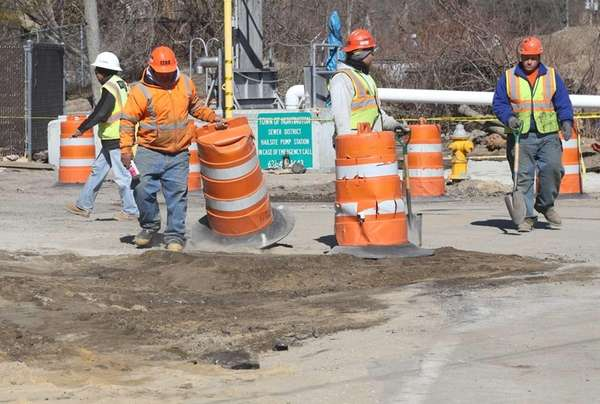 Workers complete work on Creek Road off 110
