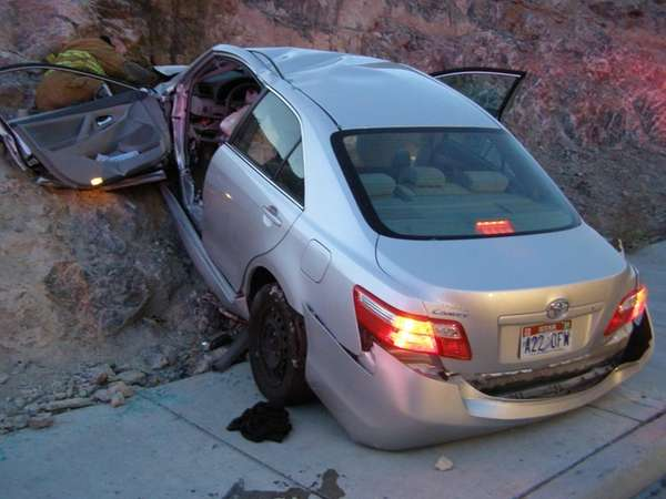 A Toyota Camry, seen after a crash off