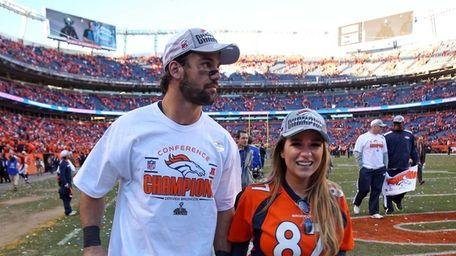 Denver Broncos' Eric Decker with his wife Jessie