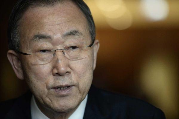 United Nations Secretary General Ban ki-moon speaks with