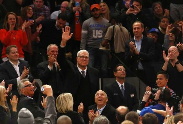 Knicks president Phil Jackson is introduced during a