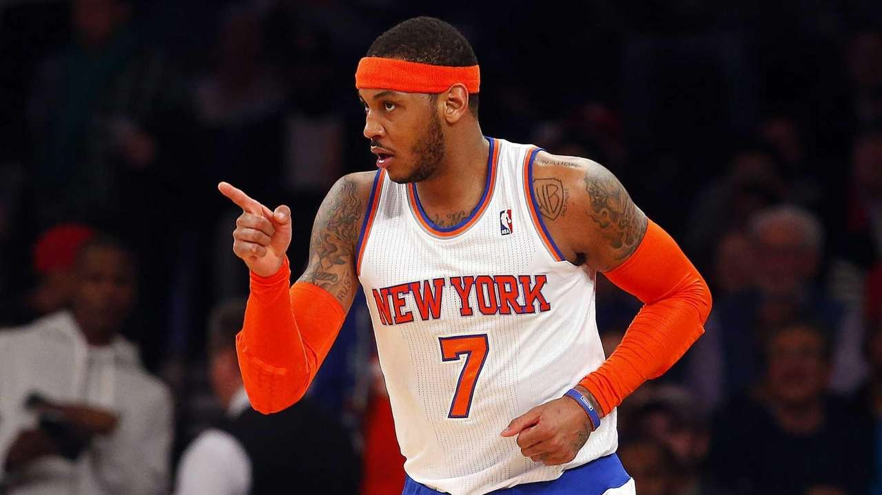 Carmelo Anthony of the Knicks reacts after a