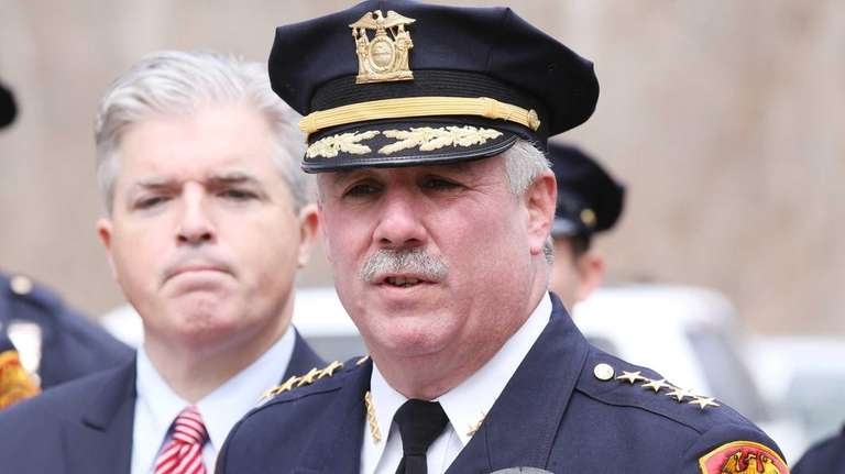 Suffolk County Police Chief James Burke speaks during