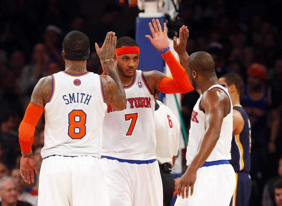 Carmelo Anthony of the Knicks celebrates a basket