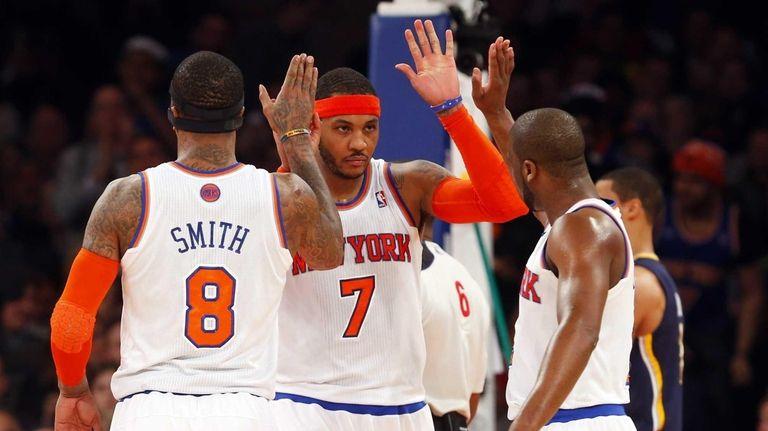 Carmelo Anthony of the Knicks celebrates a basket