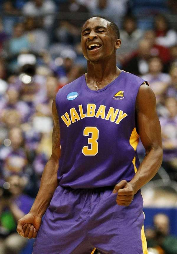 DJ Evans of the Albany Great Danes celebrates