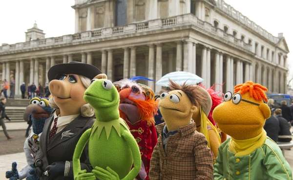 Muppet characters, from left, Gonzo, Miss Piggy, Kermit,
