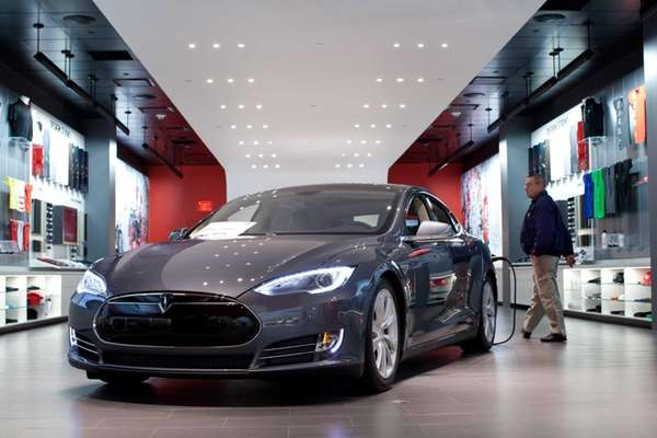 A Tesla Motors Inc. Model S connected to
