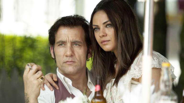 Clive Owen, left, and Mila Kunis in a
