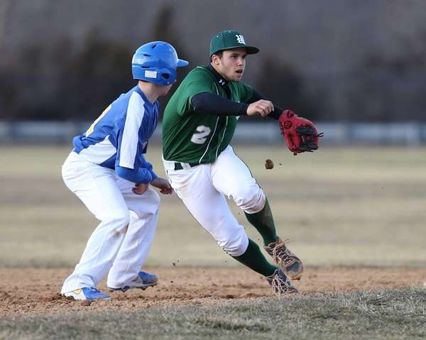 Westhampton Beach shortstop Dan McEvoy waits for the