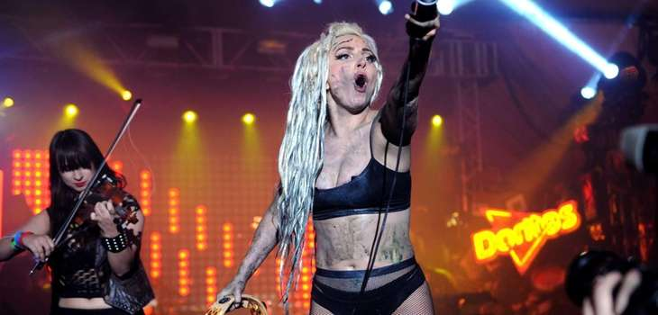 Lady Gaga performs on the Doritos #BoldStage at