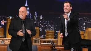 Billy Joel joins Jimmy Fallon during a taping