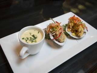 Oysters 2 Ways, one in a cream-and-Pernod stew