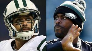 This composite image shows Jets quarterback Mark Sanchez,