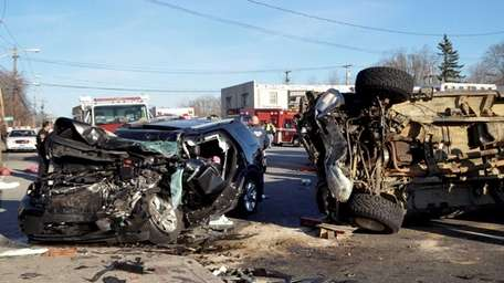 A two-vehicle crash in Centereach on Friday, March