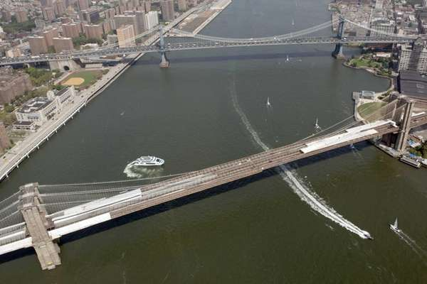 An aerial view of the Brooklyn Bridge and