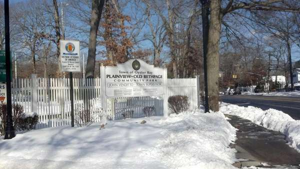 The entrance to Plainview-Old Bethpage Community Park.