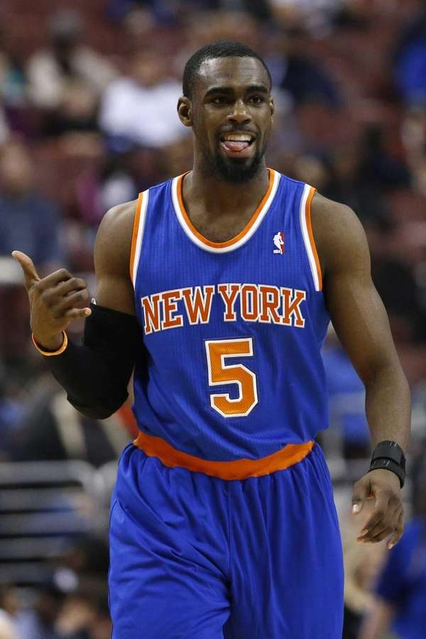 Knicks' Tim Hardaway Jr. reacts after making a