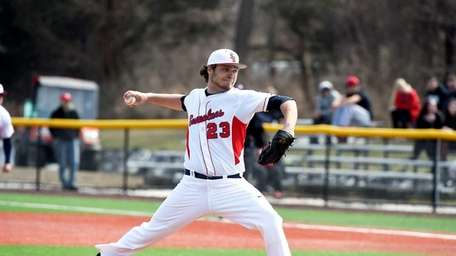Frankie Vanderka during the game vs. Albany, achieving