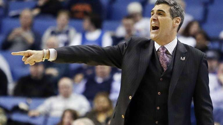 Villanova head coach Jay Wright gestures during the