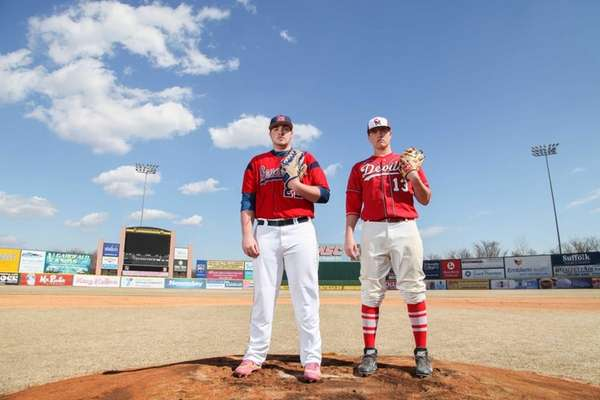 MacArthur's Adam Heidenfelder, left, and Center Moriches' Pat