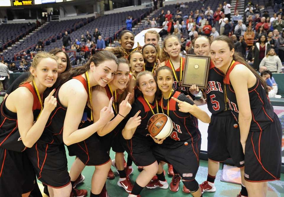 Long Island Lutheran players celebrates a 63-57 win