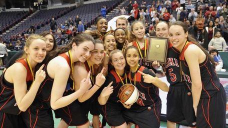 Long Island Lutheran players celebrates a 63-57 win