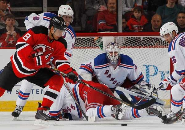 Henrik Lundqvist of the Rangers keeps his eyes