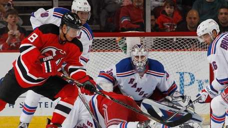 Henrik Lundqvist of the Rangers keeps his eyes