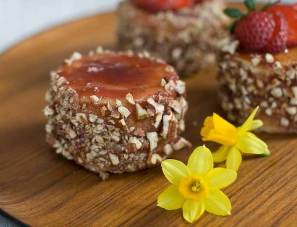 These lemon-olive oil mini cakes topped with pecans