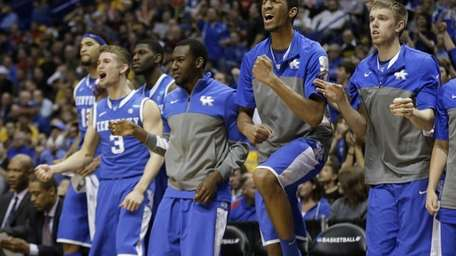 Kentucky reaches against Wichita State during the second
