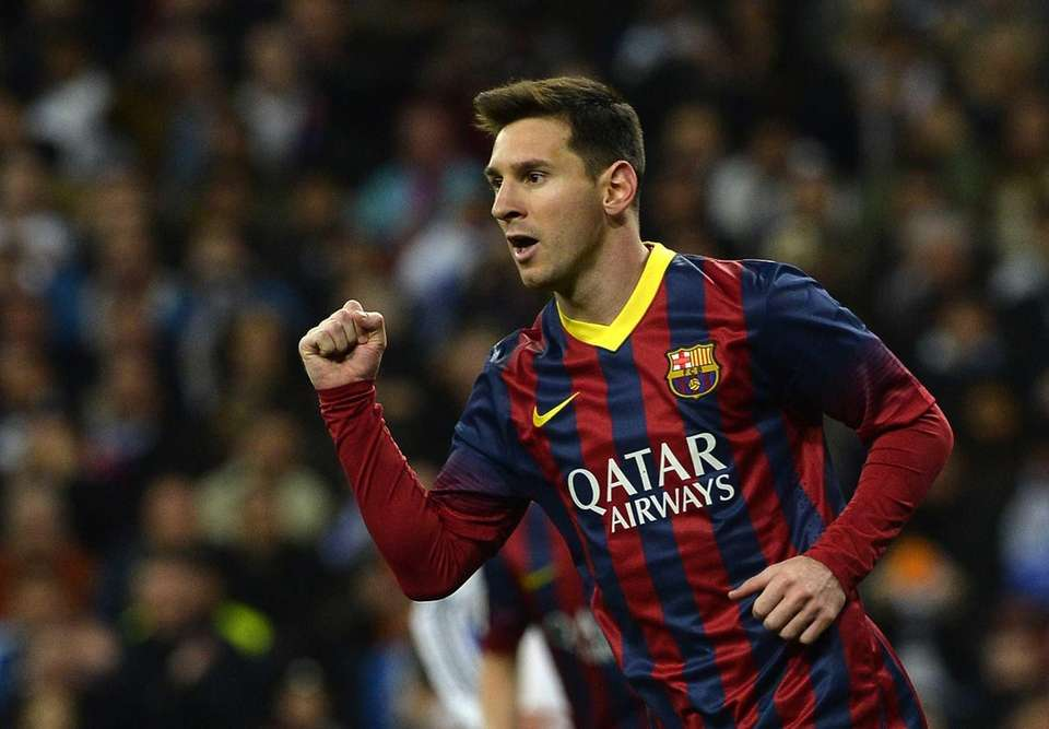 Barcelona forward Lionel Messi celebrates after scoring during