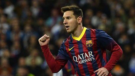 Barcelona forward Lionel Messi celebrates after scoring during