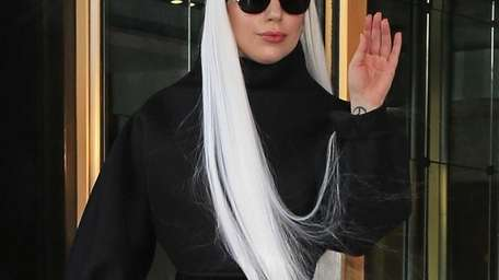 Lady Gaga wears her hair long while on