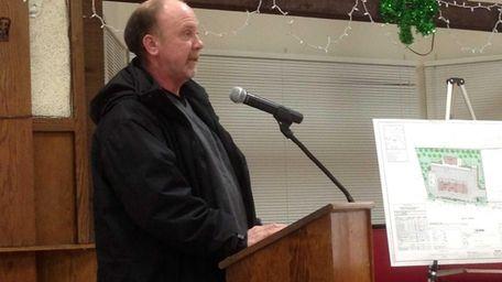 Joseph Hanley, 51, of Commack, speaks Wednesday, March
