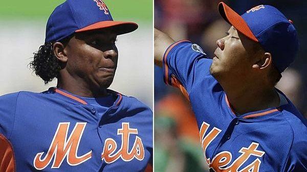 Mets pitcher Jenrry Mejia, left, and Daisuke Matsuzaka