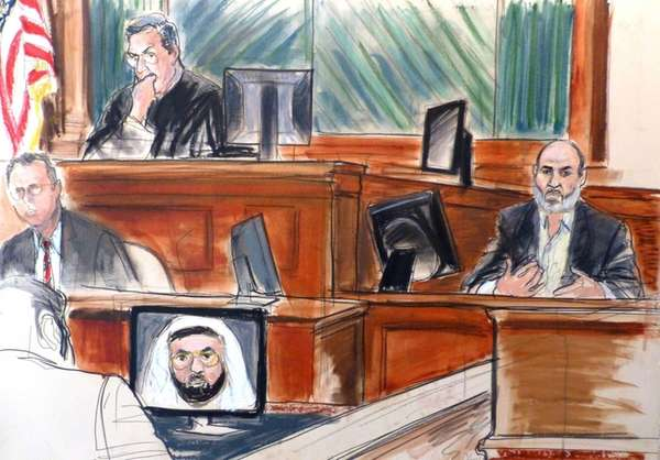 In this courtroom sketch Osama bin Laden's son-in-law,