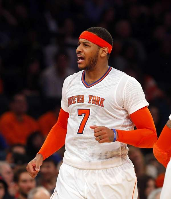 Carmelo Anthony looks on after missing a shot