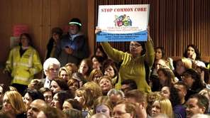 People protest at the Common Core Education Forum