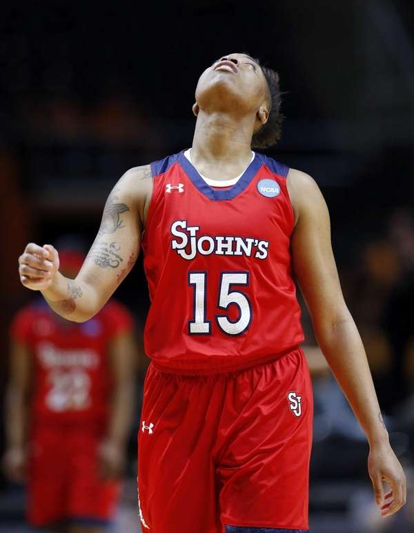 St. John's guard Danaejah Grant watches a replay