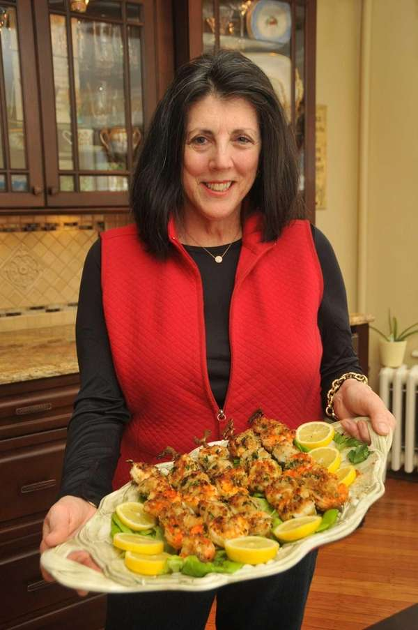 Angela McClatchey of Freeport with her shrimp and
