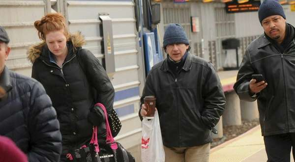 Bundled-up commuters at the Long Island Rail Road