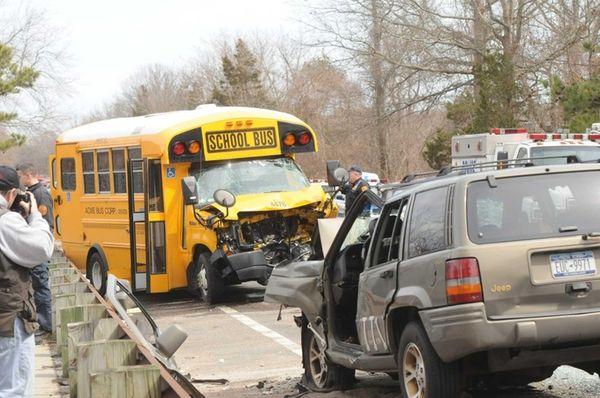 Scene of a crash involving a school bus