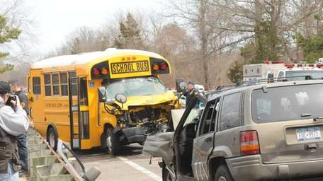 Scene of a crash involving a school bus