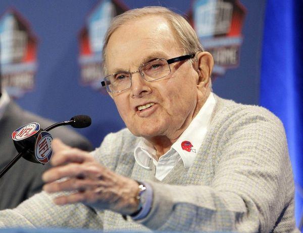 Buffalo Bills owner Ralph Wilson gestures during a