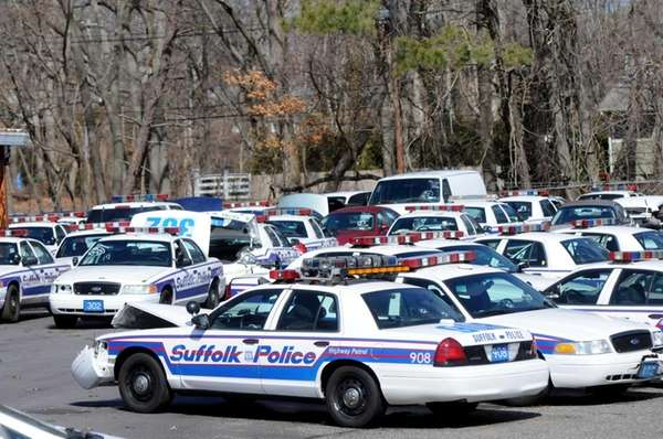 Suffolk County Police cars at the fleet garage