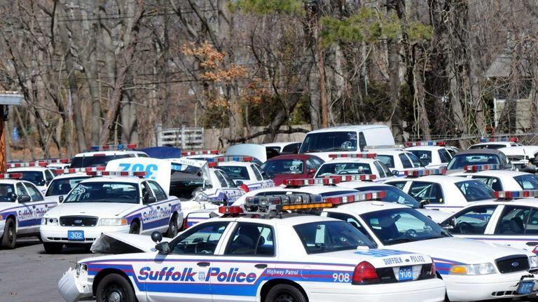 Suffolk County Police cars at the fleet garage